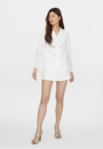 Pomelo white Bell Sleeve Double Breasted Romper - White 53669AA0900171GS_1