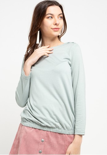 Exit green Sabrina Shirt With Button 37E5AAA904AFF7GS_1