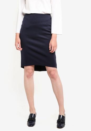 ZALORA navy High Low Skirt AFHOXAA0000000GS_1