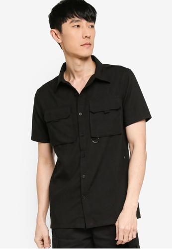 ZALORA BASICS black Rugged Utility Short Sleeve Shirt C64E7AAFE9186BGS_1