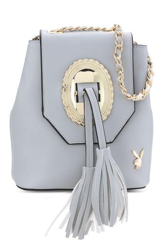 PLAYBOY BUNNY grey Playboy Bunny Sling Bag PL604AC88MTJMY_1