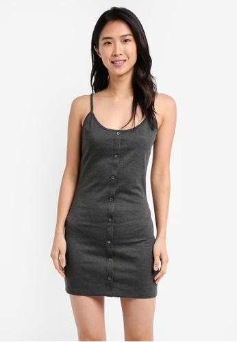 ZALORA grey Essential Button Front Cami Dress EC71CAAEDD73D4GS_1