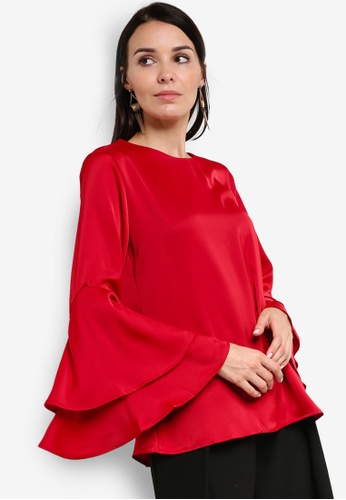 BYN red 2-Layer Flare Sleeve Top BY059AA61VJMMY_1