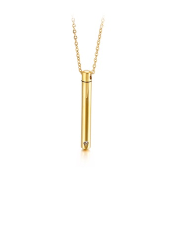 Glamorousky white Simple and Fashion Plated Gold Geometric Bar 316L Stainless Steel Pendant with Cubic Zirconia and Necklace 181B0AC2C288A9GS_1