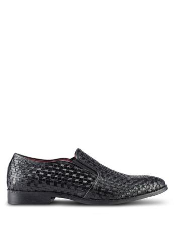 ACUTO black Leather Slip On Shoes AC283SH0SL6MMY_1