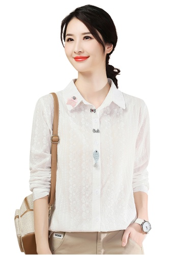 A-IN GIRLS white Elegant Blouse With Three-Dimensional Decoration ABF14AAB052D64GS_1