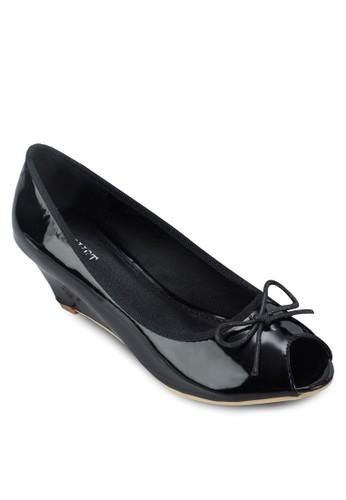 Iris 蝴蝶結露趾漆面楔形鞋, 女鞋, 厚esprit台灣官網底楔形鞋