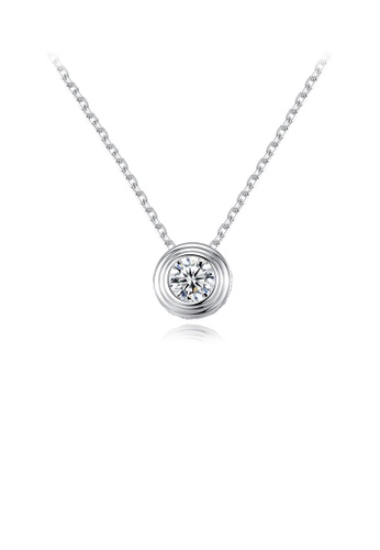 Glamorousky white 925 Sterling Silver Simple and Fashion Geometric Round Pendant with Cubic Zirconia and Necklace B0547AC11B6D59GS_1