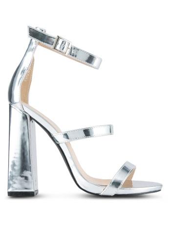 Public Desire silver Oyster Three Strap Block Heels PU378SH0SIQEMY_1
