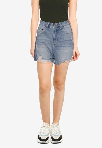 Nichii 藍色 Side Striped Denim Shorts 9C442AAD22963AGS_1