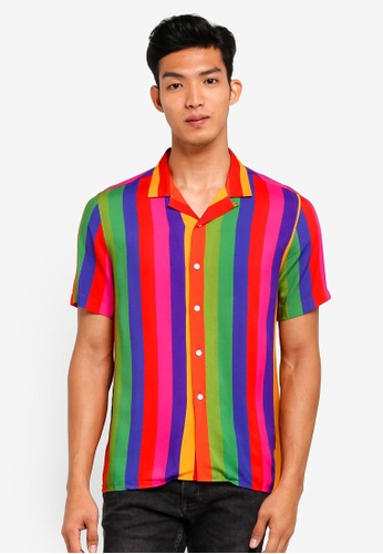 Topman multi Rainbow Stripe Short Sleeve Shirt 35B9FAAB5E8B5FGS_1