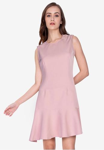 ZALORA WORK pink Asymmetric Hem Mini Dress 1385DAA455989AGS_1