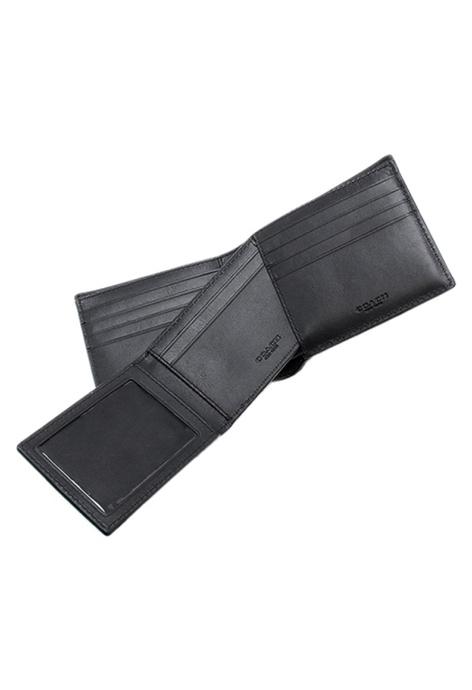 COACH COACH 經典皮革壓紋兩折式小牛皮銀包(附卡夾) (F75371) – 黑色