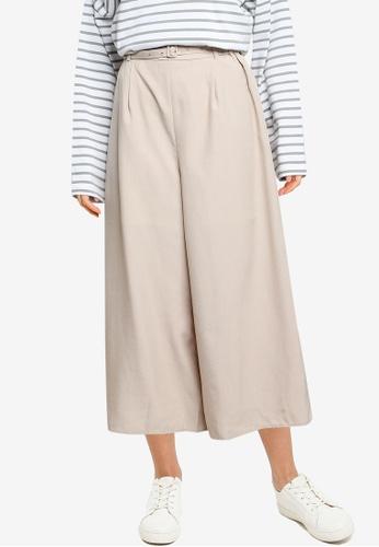 LOWRYS FARM beige Belted Culotte Pants A14FCAA6F33875GS_1