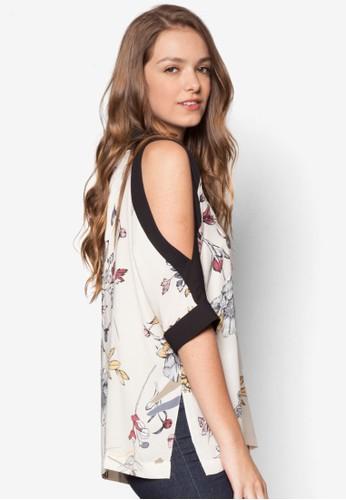 Besprit 品牌obby 撞色寬版印花上衣, 服飾, 上衣
