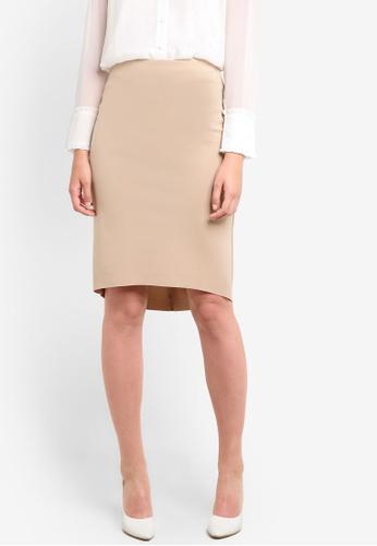 ZALORA beige High Low Skirt AFHPAAA0000097GS_1