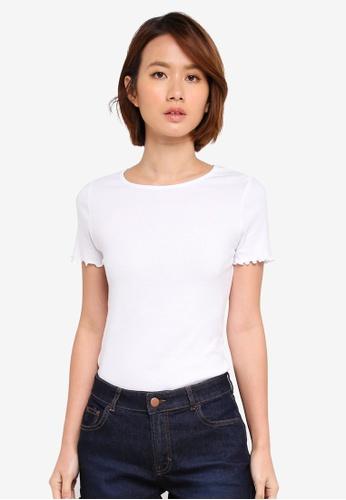 Dorothy Perkins white White Lettuce Edge T-Shirt F7E2EAA8A6C388GS_1