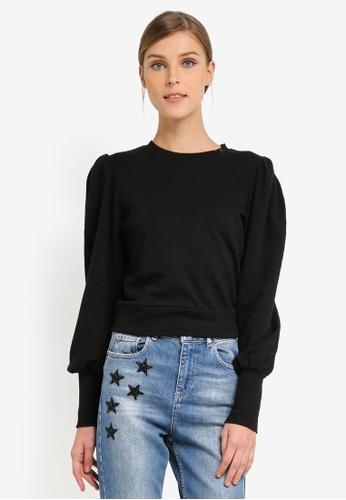 Miss Selfridge black Volume Sleeve Sweatshirt MI665AA0SLESMY_1