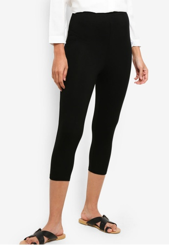 ZALORA BASICS black Basic Jersey Capri Leggings 2EC2DAA590AAD8GS_1