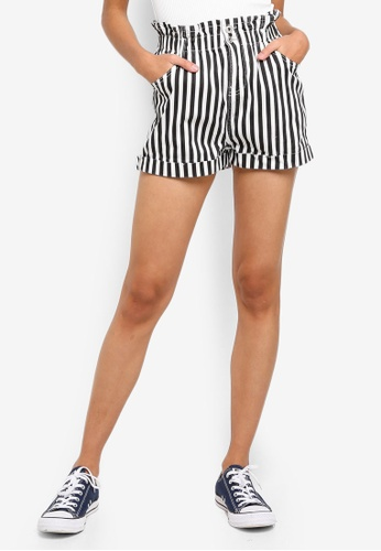 Factorie black and white Denim Paperbag Shorts F4A13AAD62A6C6GS_1