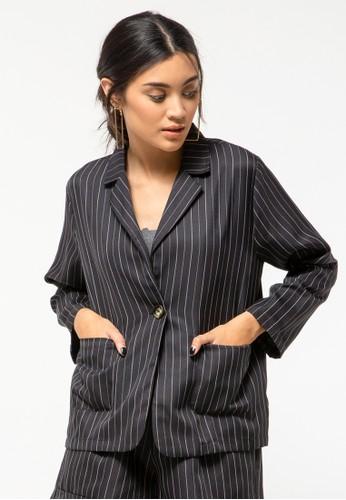 COLORBOX black Twill Stripe Blazer 65CD0AAA005B25GS_1