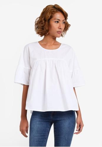 Vero Moda white Half Sleeves Top VE975AA0S3WXMY_1