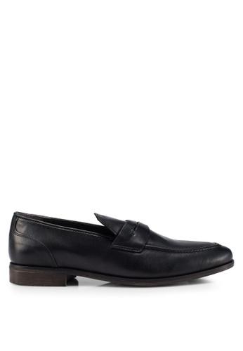 Burton Menswear London black Black Leather Formal Loafers B2B9CSH32FD675GS_1