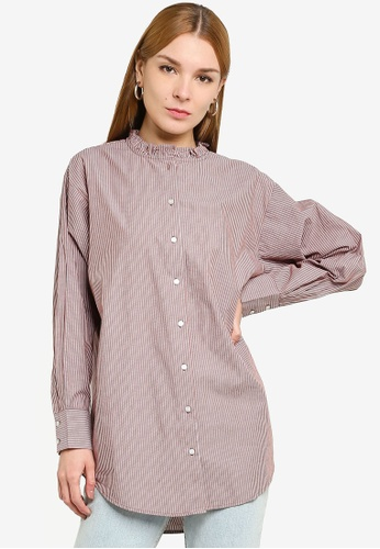 JACQUELINE DE YONG brown Bubble Life Frill Long Shirt 711CCAA097C49CGS_1