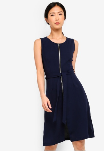 ZALORA BASICS navy Basic Zip-Up Dress With Waist Tie 6FED1AA073BDC0GS_1
