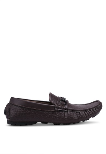 Rocklander brown Metal Hardware Croc Texture Loafers 2692CSH61A2A66GS_1