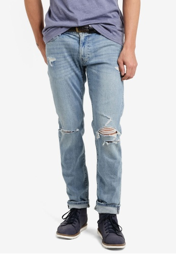 Abercrombie & Fitch blue Slim Light Destroy Jeans AB423AA91IQMMY_1