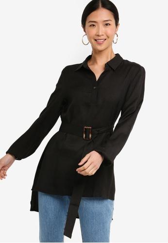 ZALORA BASICS black Basic Oversized Belted Tunic 5A14EAA7FDAED4GS_1