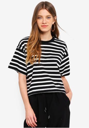 TOPSHOP black Petite Stripe Boxy T-Shirt 71429AABBADC3BGS_1