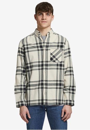 JACK & JONES beige Layton Long Sleeve Shirt 8EFC3AA78F872BGS_1