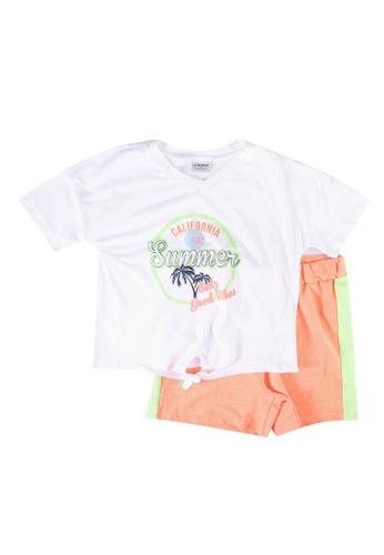 LC Waikiki orange Girl's T-Shirt and Shorts Set A4034KABFECFACGS_1