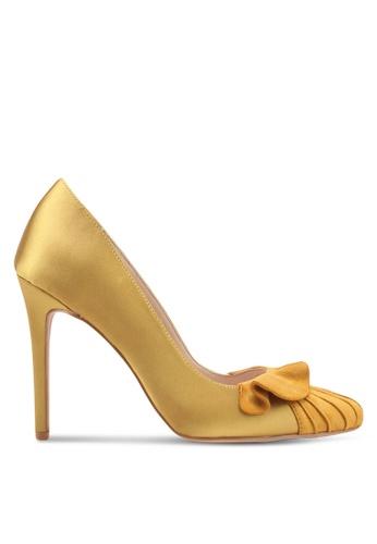 Velvet yellow Satin Heel with Ruffle C54E3SH5B0000FGS_1