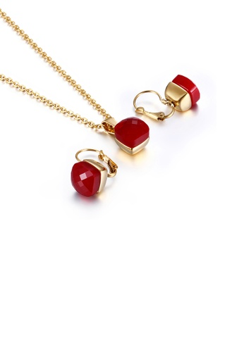 Glamorousky red Fashion and Simple Plated Gold Geometric Square 316L Stainless Steel Necklace and Earrings Set with Red Cubic Zirconia E0399ACB4A7D80GS_1
