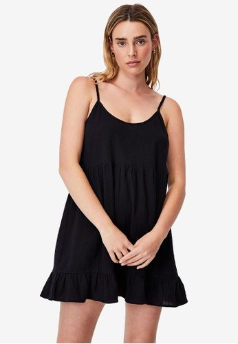 Cotton On black Woven Lucy Strappy Tiered Tunic C39E0AA67D7FD8GS_1