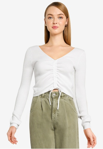 Hollister white Slim Cinch Front And Back Top 36629AACC7330AGS_1
