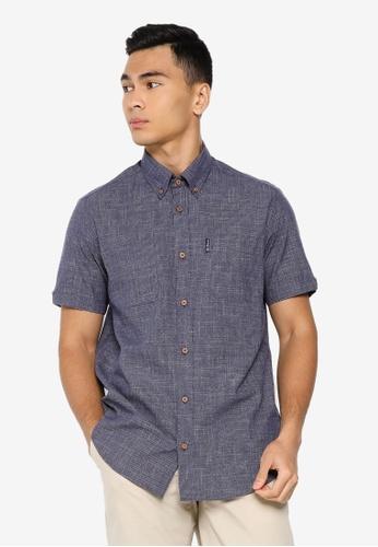 Ben Sherman blue Irregular Yarn Shirt E25E9AA645DD63GS_1