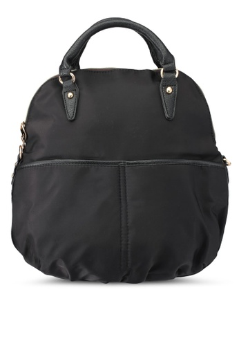 NUVEAU black 3-Way Usage Pu-Trimmed Nylon Bag NU245AC0SRYVMY_1
