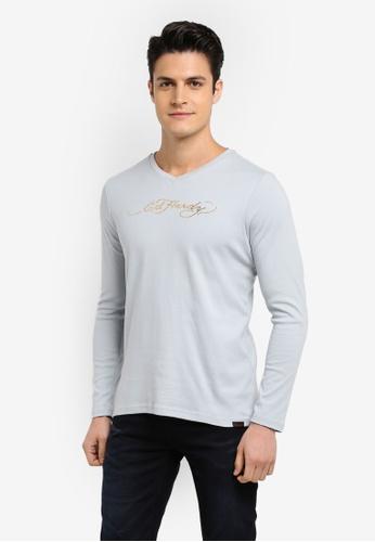 Ed Hardy grey Basic Long Sleeve V Neck Tee B4E52AA530C717GS_1