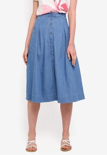 ESPRIT blue Light Woven Midi Skirt A7BDDAAE36E267GS_1
