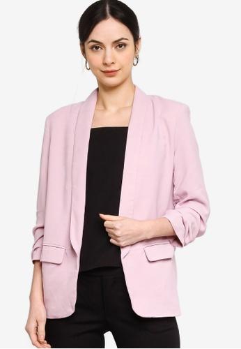ZALORA WORK pink Ruched Sleeves Blazer 9C7FFAA619D763GS_1