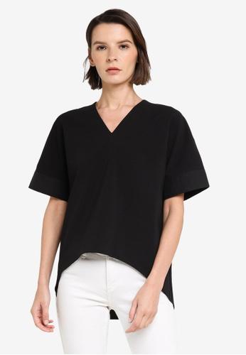 ck Calvin Klein black CREPE JERSEY PRINTED POPLIN TOP 1B87AAAC861729GS_1
