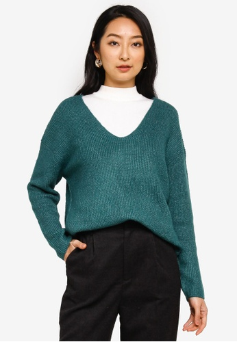 niko and ... green V Knitted Long Sleeves Sweater 5C981AAEB76364GS_1