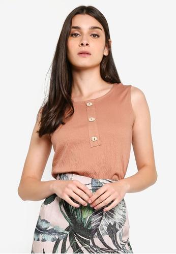 LC Waikiki 褐色 無袖Buttoned-Neck Tank上衣 CFA50AA5639E0DGS_1