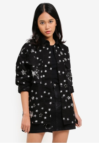 TOPSHOP black Star Embellished Shacket 3E9B5AA000A3E4GS_1