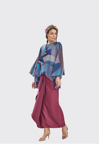 Izzati Pario Set Kurung from Nadjwazo by LadyQomash in Black and Blue and Purple and Multi and Brown