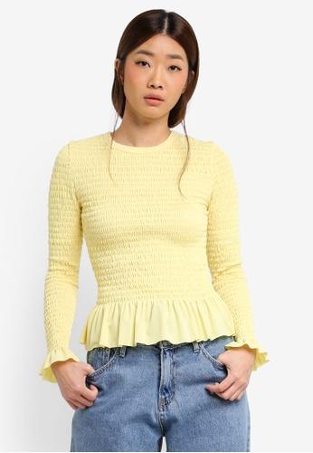 Stylenanda yellow Shirred Bodice Top 27921AA087E3A6GS_1